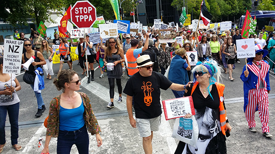 Part of the Auckland TPPA rally neat the Town Hall today. Image: David Robie/PMC