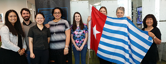 Pacific Media Watch editor Alistar Kata (left) with postgraduate students and staff at the West Papua flag-raising at AUT's Pacific Media Centre today. Image: PMC