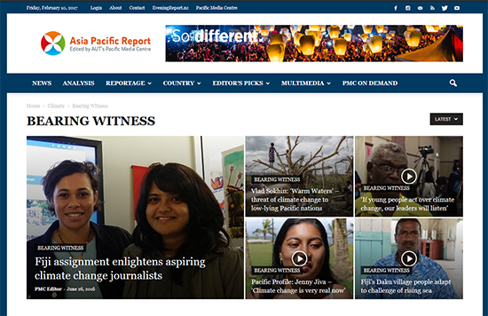 The front page on the 'Bearing Witness' project at Asia Pacific Report.