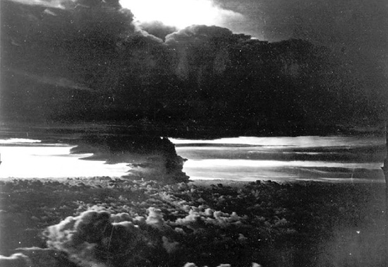 Castle BRAVO, 16 minutes after detonation, seen from a distance of 50 nautical miles, at an altitude of 10,000 feet. From DTRIAC SR-12-001.