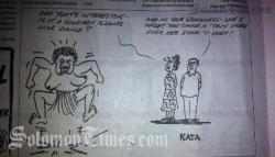 The controversial cartoon by Kata, Cook Islands News.