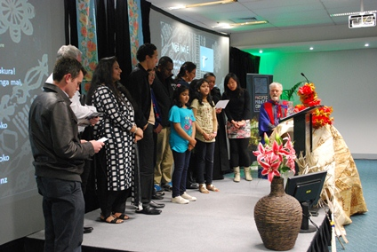 Professor Robie and the PMC team sing the waiata Nga Iwi E at the end of the address. Photo: Karen Abplanalp/PMC
