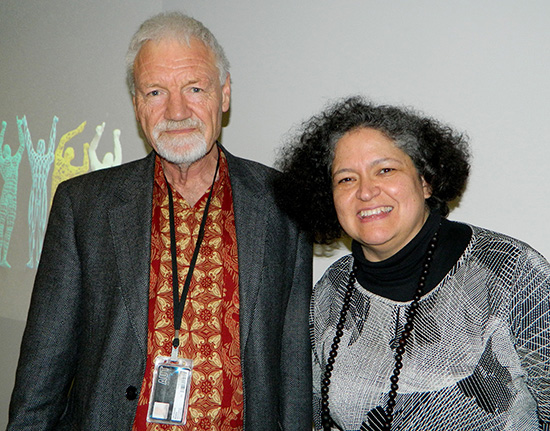 Pacific Media Centre director Professor David Robie and Dr Cristina Parra at last night's AUT climate change public lecture. Images: Del Abcede/PMC