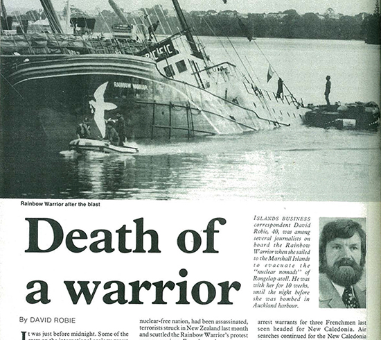 David Robie's cover story for the Fiji-based Islands Business on the Rainbow Warrior bombing in August 1985. Image: PMC
