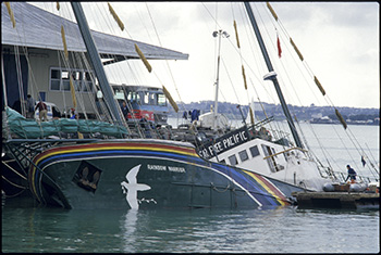 [IMAGE RW2] The bombed Rainbow Warrior in Auckland Harbour … not the only Pacific target of the French military. Image: John Miller/Eyes of Fire