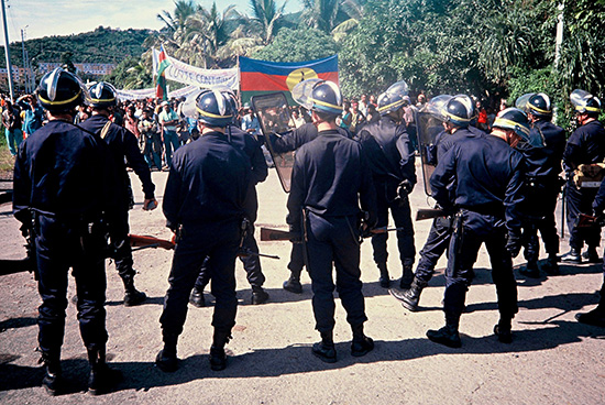 French CRS special police confronting Kanak activists demanding independence in New Caledonia. Image: David Robie