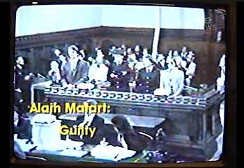 French secret agent Alain Mafart pleads guilty to reduced charges of manslaughter and wilful damage in November 1985. Image: Courtroom CCTV footage