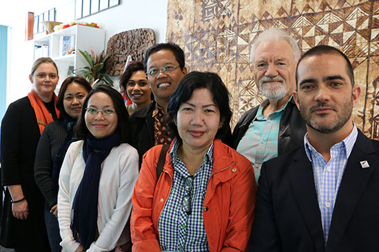 The UNIPA delegation meets Pacific Media Centre staff and volunteers at AUT. Image: Del Abcede/PMC