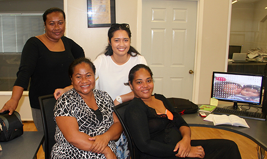 The Pacific Media Centre's Alistar Kata (in white) with some of the Samoa Observer team. Image: PMC