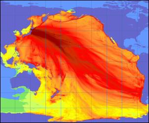 Tracking the Japanese tsunami in the Pacific. Image: US Geological Science site: www.usgs.gov