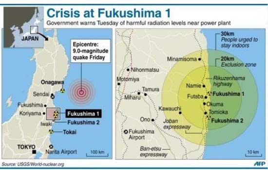 The crisis zone in relation to the earthquake and tsunami areas. Map: AFP/Allvoices