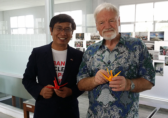 Pak Muhadi Sugiono and professor David Robie at the ICAN and a world without nuclear weapons seminar at UGM. Image: Del Abcede/PMC