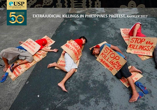 "A ""mock bodies"" student protest over the Philippines ""war on drugs"" extrajuducial killings. From the talk slides."