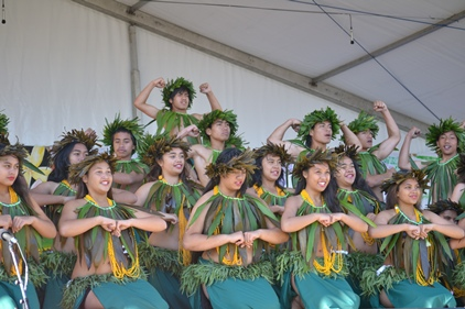 Dancers pose at the end of their performance at the Auckland Polyfest. Photo: Cade Tariau