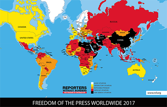 The 2017 RSF World Press Freedom Index – click on the map for interactive country rankings.