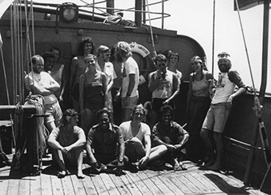 FLASHBACK: The Rainbow Warrior crew and Marshall Islands volunteers on board the vessel bound for Majuro in May 1985. Eyes of Fire author David Robie is on the right. Image: Fernando Pereira/Greenpeace