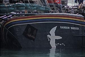 The bombed Rainbow Warrior. Image: John Miller