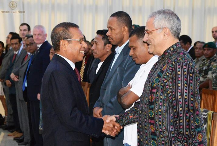 Timor-Leste President Taur Matan Ruak presenting the 2013 Sérgio Vieira de Mello human rights awards at the Nicolau Lobato Presidential Palace on International Human Rights Day. Jose Belo is in the centre.