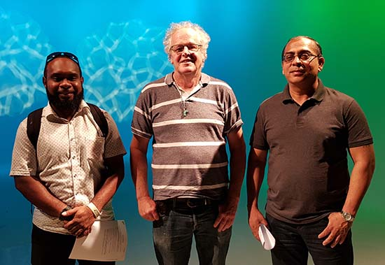 Eliki Drugunalevu, Scott Creighton and Dr Singh in AUT's main TV studio today. Image: David Robie