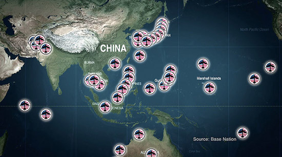 "The Coming War documentary by John Pilger … ""so many missiles pointing at China"". Map: Base Nation"