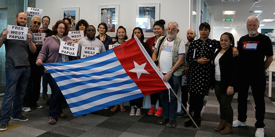 """Free West Papua"" message at the Pacific Media Centre today. Image: Del Abcede/PMC"