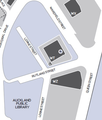 Location of the AUT Tower (WT Building) in Rutland St.