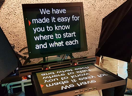 """Where to start"" - a teleprompter. Image: David Robie/PMC"