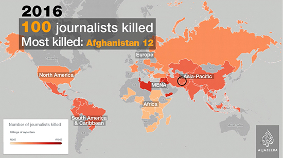 Killings of journalists in 2016 - click on this image to watch the video for previous years. Video: Al Jazeera