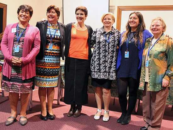 Auckland participants at the UN Commission of the Status of Women, held in New York in March 2016: (From left): Denise Ewe (PWW NZ and MWWL), Prue Kapua (National president MWWL and Patron PWW NZ), Dr Jackie Blue (EEO Commissioner from HRC), Sally Smith (PWW NZ and BPW), Sara Daneshvar (PWW NZ), Beverley Turner (PWW NZ, CSW60 PWW Team leader and IFGW) Image: TJ Aumua/PMW