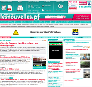 "The Les Nouvelles website featuring the ""end of an era"" story."