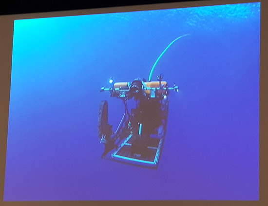 A deep sea mining device ... from a slide in activist Guam lawyer Julian Aguon's presentation. Image: David Robie/PMC