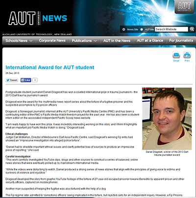 The AUT news story on the trauma journalism award.