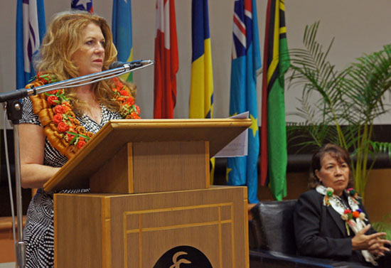 Fiji Permanent Secretary for Information Sharon Smith-Johns (speaking) and USP Deputy Vice-Chancellor Esther Williams at the Media and Democracy in the South Pacific symposium in Suva last week. Image: USP