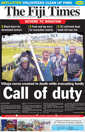 Today's front page of The Fiji Times … the agony of Koro and the vanished village. Image: PMC