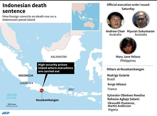 Nusakambangan … where the executions will be carried out. Graphic: AFP