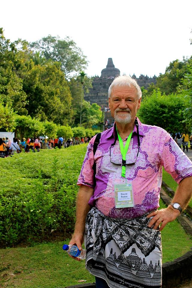 Dr David Robie at the Mahayana Buddhist temple of Borobudur, near Yogyakarta, Indonesia.