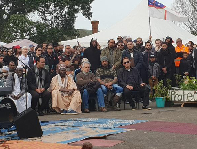"The Muslim delegation at Ihumātao… ""The communities are becoming closer to each other, the gap is becoming smaller."" Image: RNZ"