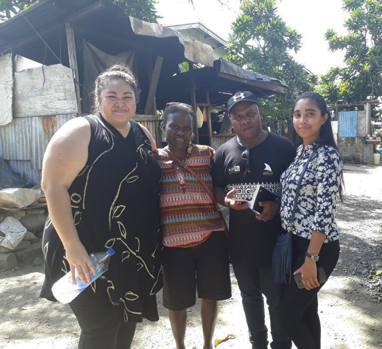 Geraldine Panapasa (from left), Rosalie Nongebatu, Ben Bilua and Romeka Kumari at Kukum Fishing Village in Honiara. Image: Wansolwara