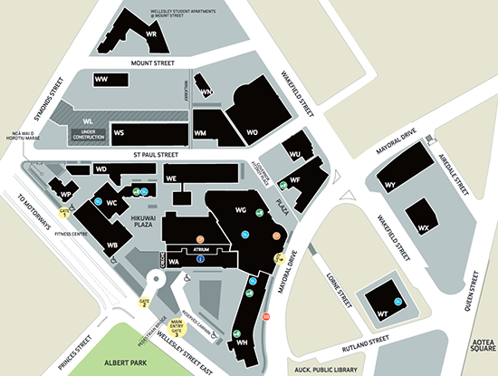 The AUT city campus map.