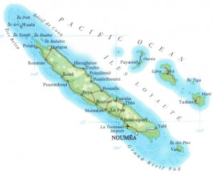 New Caledonia ... Ouvea is the top-left atoll of the Loyalty Islands on the right of the map. Image: PMC Archive