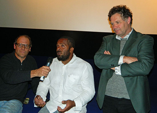 Steve Woodward, Florent Eurisouké and Jim Marbrook speaking at the public forum after the screening of Cap Bocage. Image: Del Abcede/PMC