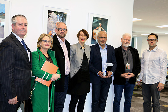 NZ Institute for Pacific Research board members David Nicholson (MFAT, from left), Elisabeth Poppelwell (MFAT), Dr Gerard Cotterell (manager, UOA), Professor Jenny Dixon (chair, UOA), Walter Fraser (AUT) and director Toeolesulusulu Associate Professor Damon Salesa (UOA) with AUT's Pacific Media Centre director professor David Robie (second from right) in the School of Communication Studies today. Image: Del Abcede/PMC