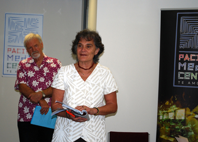 Tagaloatele Professor Peggy Fairbairn-Dunlop speaking at the book launch. PMC director Dr David Robie in the background. Photo: Del Abcede