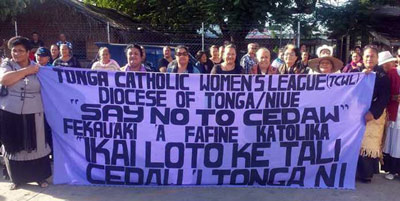 Women protesting against CEDAW in Tonga. Image: PNG Loop