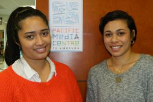 AUT student journalists Alistar Kata (left) and TJ Aumua ... also on exchange in Fiji and Samoa. Image: David Robie/PMC