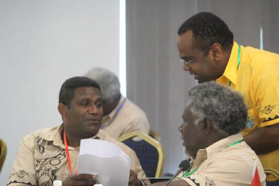 Vanuatu senior foreign officials in Honiara for the summit. Image: Samisoni Pareti/ Islands Business