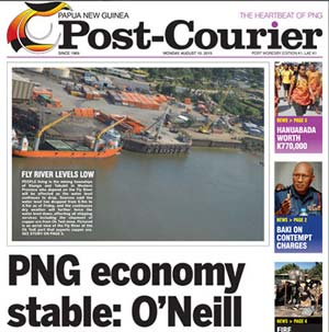 PNG Prime Minister Peter O'Neill's defence of the country's beleagured economy after the Sydney Morning Herald report published on the front page of the PNG Post-Courier today. Image: PMC