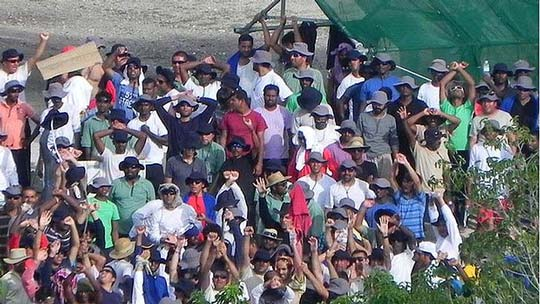 Asylum seekers at the Topside camp in Nauru protesting against their detention. Image: Solidarity