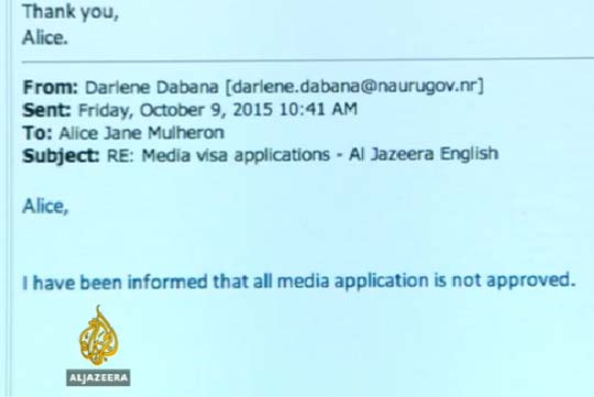 The email response from Nauru's Migration Office to Al Jazeera's Sydney office. Image: Al Jazeera