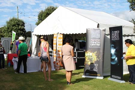 "AUT's ""digital fale"" at the Pasifika Festival. Photo: Yvonne Brill/PMC"